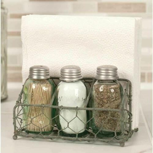 Chicken Wire Salt Pepper and Napkin Caddy Barn Roof