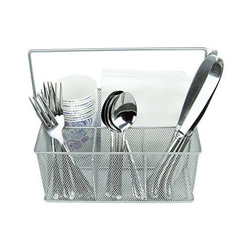 KitchenPlus Condiment and Silverware Caddy, Silver