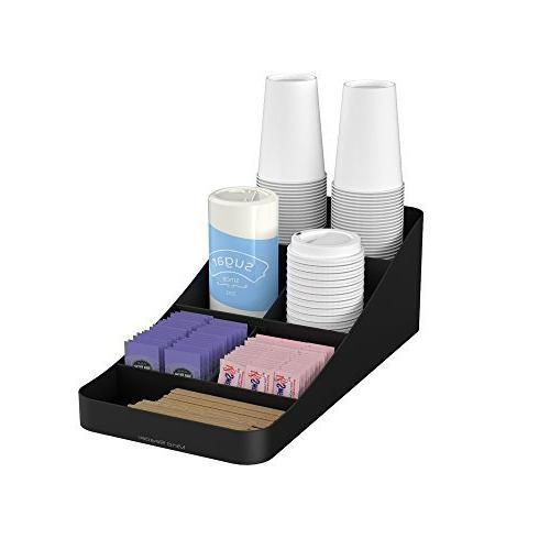 Mind Reader COMP7-BLK 7 Compartment Coffee Condiment, Cups,