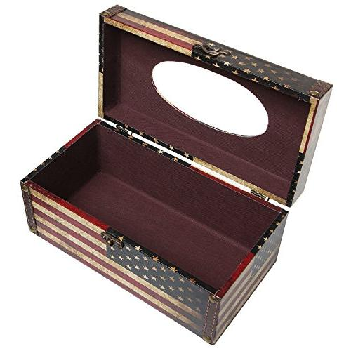 MyGift Decorative Vintage American Flag Refillable Box Cover