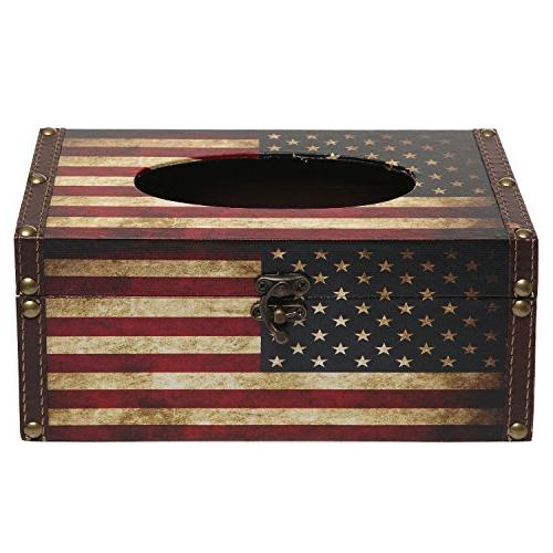 MyGift American Flag Design Hinged Refillable Cover