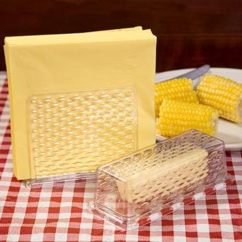 Plastic Napkin Holder & Butter Dish Set