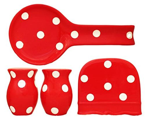 Viva Collection, RED Polka Dot Hand Painted Ceramic Table To