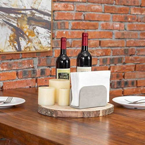 MyGift Arched Cement-Gray Napkin Holder