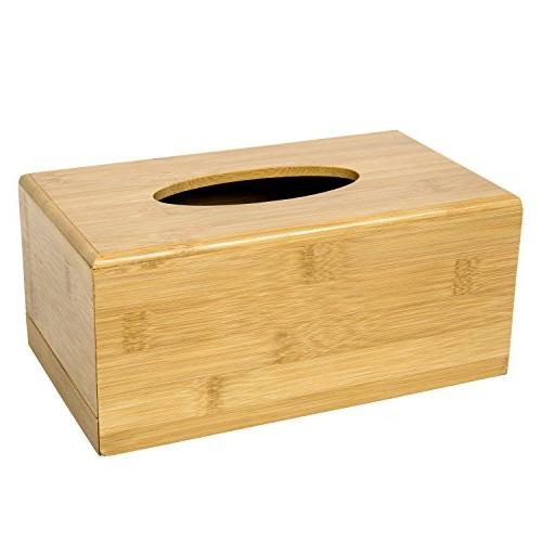 MyGift Natural Tissue Box Wooden & Beige