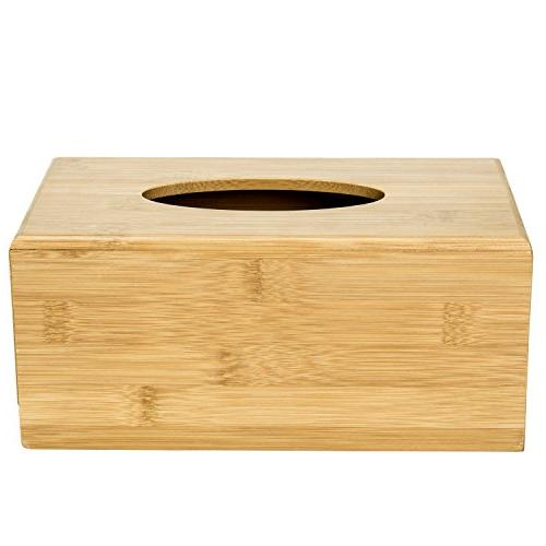 MyGift Natural Tissue Box Cover, Refillable Wooden &