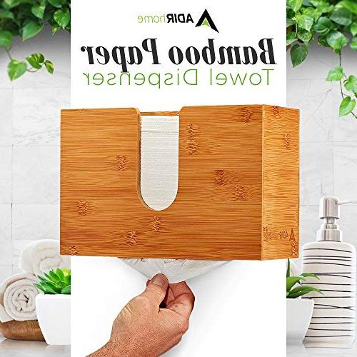 AdirHome Bamboo Paper Dispenser x - Multifold Hand Bathroom, Home Commercial