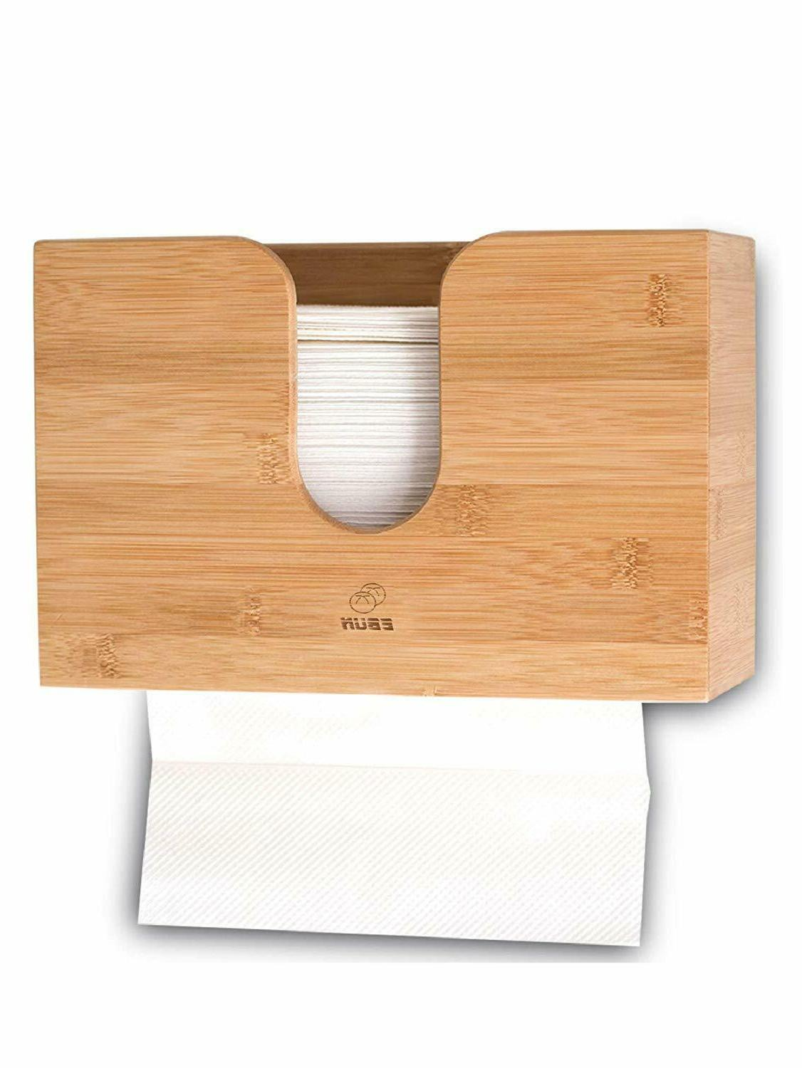 Bamboo Paper Towel Dispenser Wall Mount Wood Holder For Offi