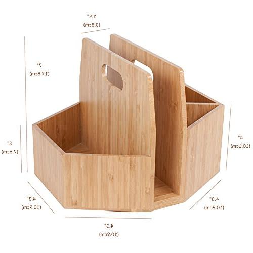 Bamboo Utensil Holder Portable Silverware Caddy, Condiment, Dining Supplies