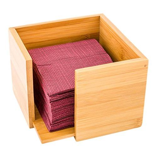 bamboo square cocktail napkin holder
