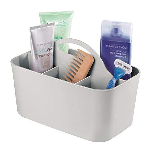 mDesign Plastic Organizer Divided Basket with Handle, Holds Body Wash, - 4 Pack, Gray