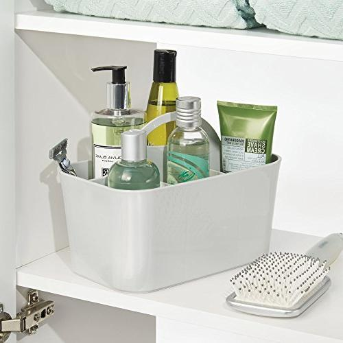 mDesign Plastic Organizer Caddy Divided Basket Handle, - Holds Hand Wash, Shampoo, - 4 Pack, Small, Gray
