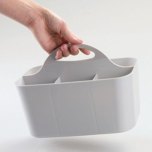 mDesign Portable Storage Organizer Divided Basket with Handle, - Holds Hand Wash, Shampoo, - 4 Pack, Small, Gray