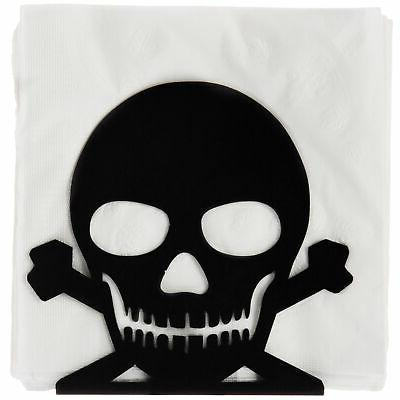 black metal skull and crossbones napkin holder