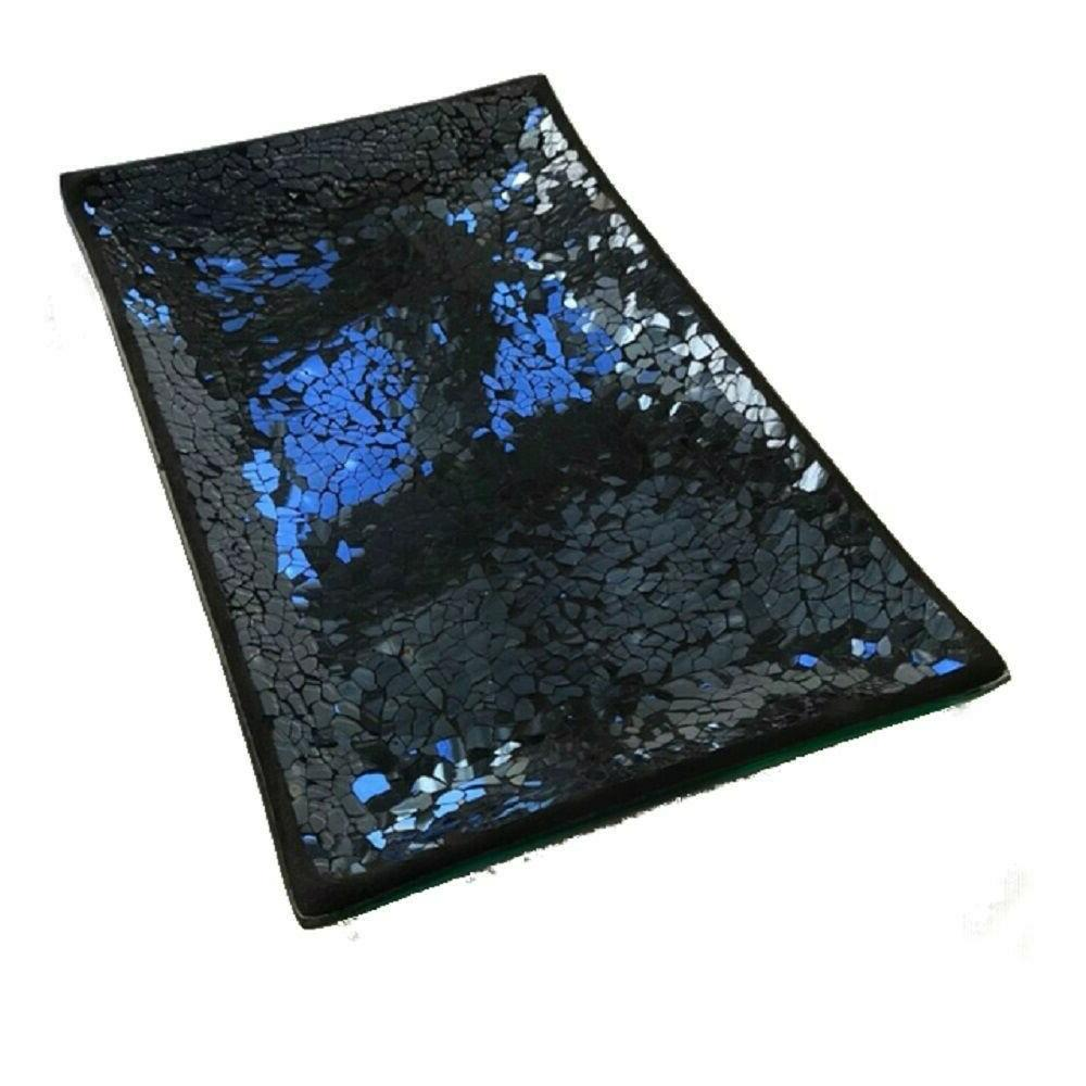 black mosaic guest towel and napkin holder