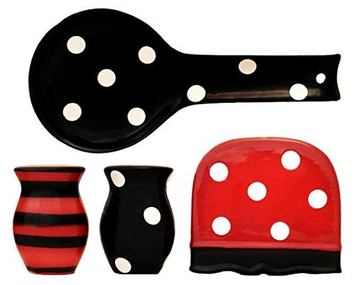 black red polka dot collection