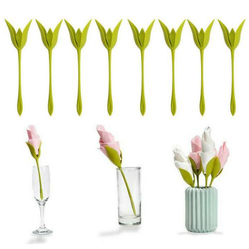 8Pcs Bloom Napkin Holders Table Plastic Twist Flower Serviet