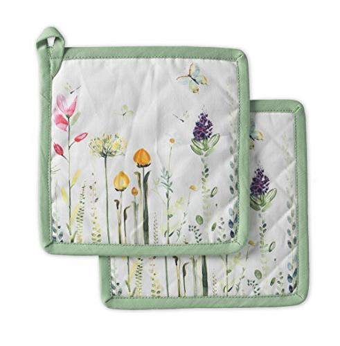 botanical fresh cotton pot holders