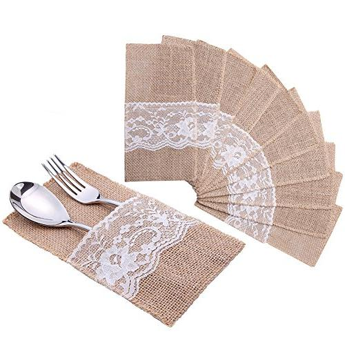 burlap lace silverware napkin holder