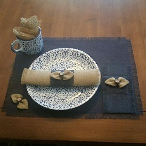 Burlap Navy Chic Table Runners, Silverware or Natural Handmade Bow-tie