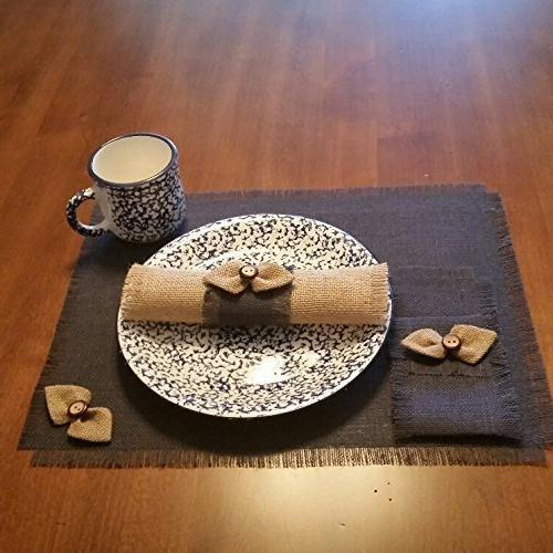Burlap Chic Runners, Silverware Holders, Napkin or Decorative Napkins Natural Bow-tie Accent