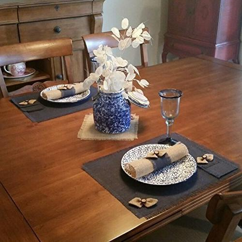 Burlap Navy Blue Chic Runners, Placemats, Silverware Holders, Napkin or with Natural