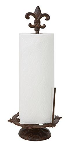 Creative Co-Op Cast Iron Fleur De Lis Paper Towel Holder, Br