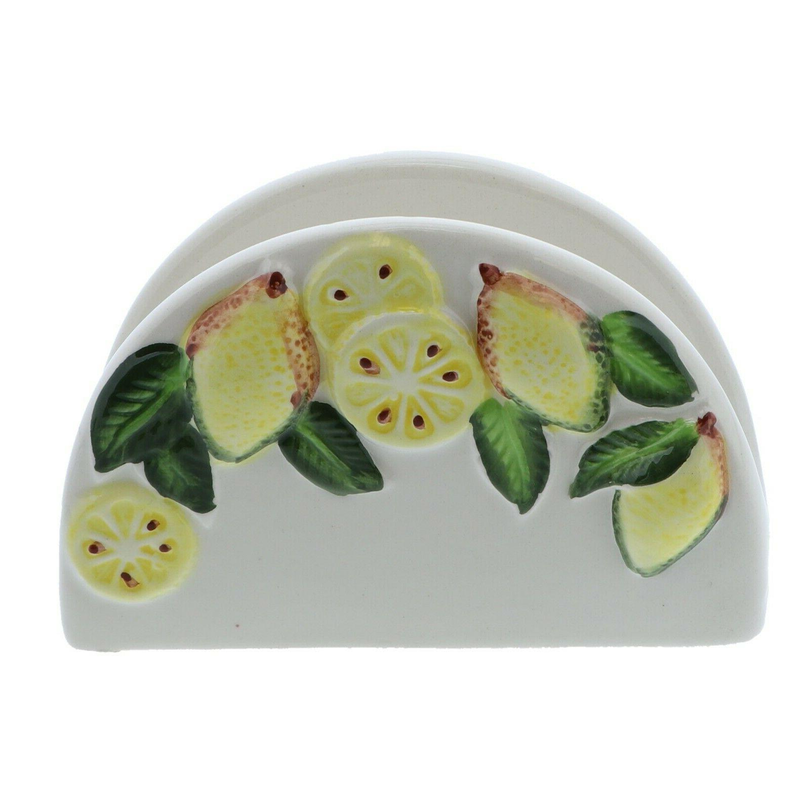 ceramic napkin holder white w lemon branch