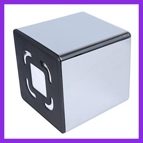Cube Mirror Box Cover Organizer Napkin Stand Stainless