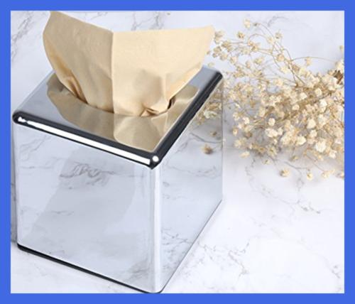 Cube Mirror Box Cover /Holder Napkin Stand Stainless S