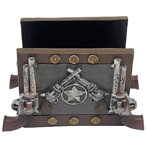 Decorative Western Napkin Holder Pistols Star for Countertop Dining Table Decor Gifts for Cowboys