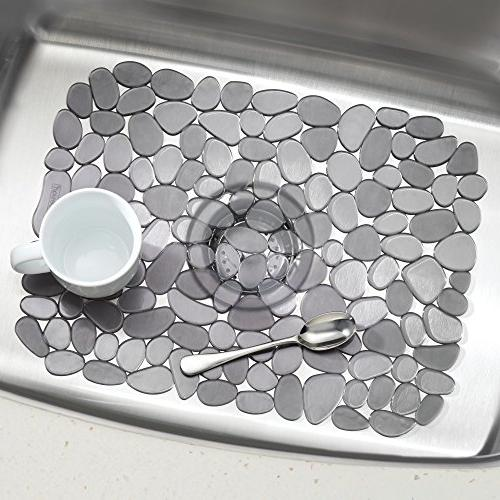 mDesign Protector Mat Quick In Sinks Protect Surfaces, Pebble 1 Saddle, Large Sink Mats Set 3, Graphite