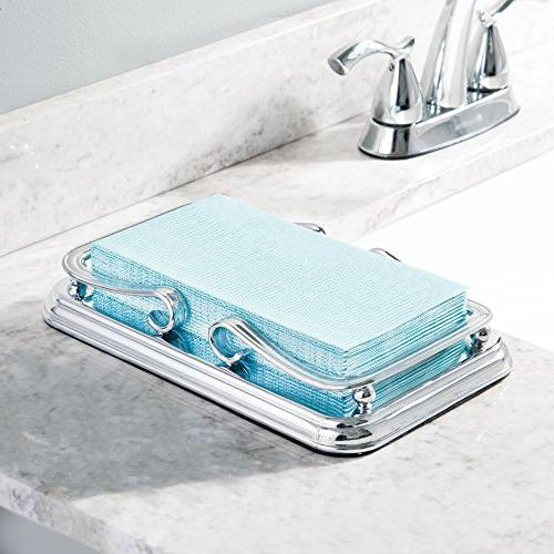 mDesign Hand Towel Dispenser, Sturdy Non-Skid and Scroll Design for Countertops - Chrome