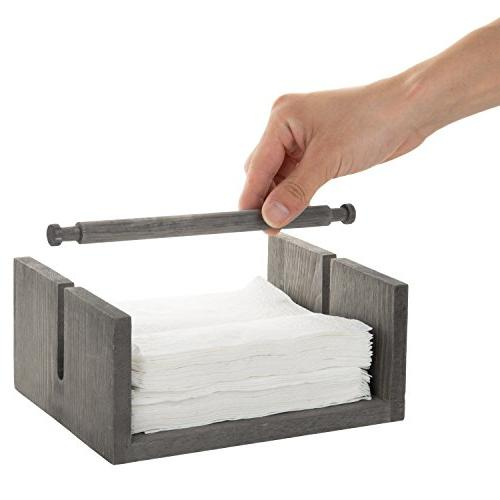 MyGift Distressed Gray Napkin Holder with Bar Weighted Arm