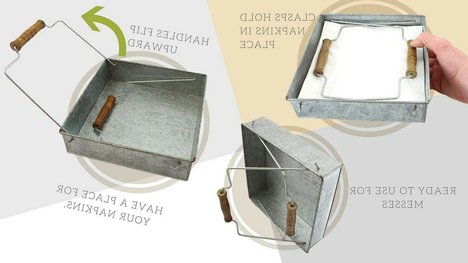 Galvanized Metal Napkin Holder Kitchen Rustic