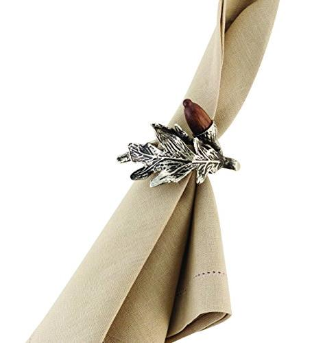 Mud Pie Holiday Acorn & Pine Cone Kitchen Acorn Napkin Rings