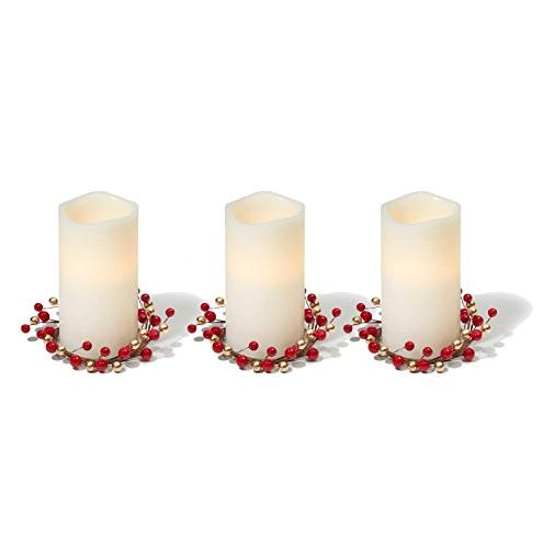 LampLust Candle Rings, Red Gold Set 3 - for and Decor