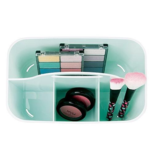 mDesign Plastic Organizer Caddy Basket Bin for Holds Makeup Brushes, Eyeshadow Small, Mint