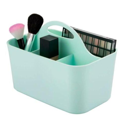 mDesign Plastic Portable Makeup Organizer Caddy Tote, Divide