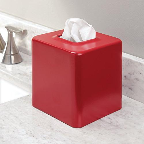 mDesign Paper Cover Vanity Countertops, Bedroom Night Desks and Tables 2, Red