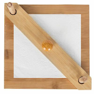 MyGift Minimalist Bamboo Square Napkin Holder Bar Weighted Arm