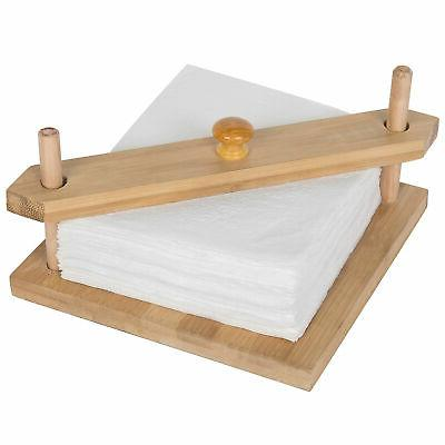 minimalist bamboo square napkin holder with center