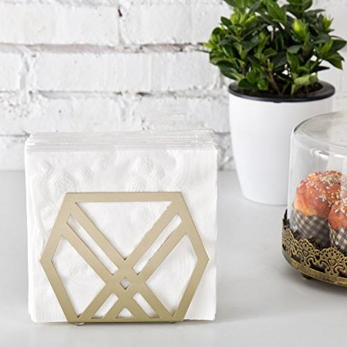 MyGift Modern Metal Napkin Holder, of 2