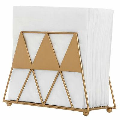 modern gold tone geometric triangle metal napkin