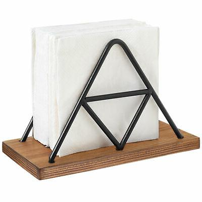 modern triangle wire and wood napkin holder