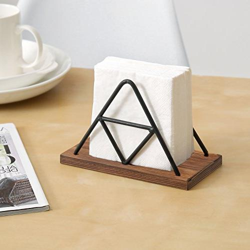 MyGift Modern Triangle & Wood Holder