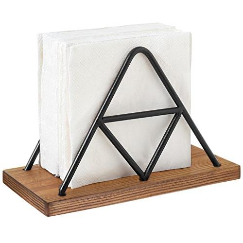 modern triangle wire wood napkin
