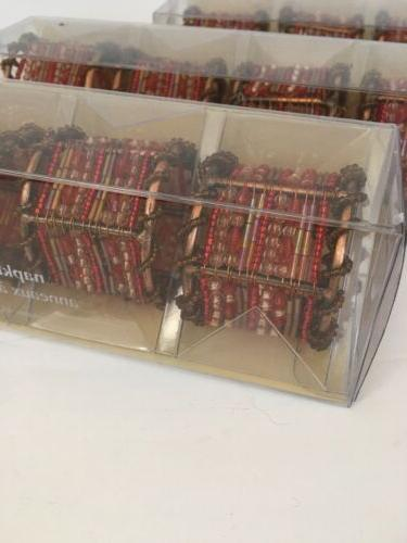 Pier Moroccan Beaded Napkin Rings of Bronze Red