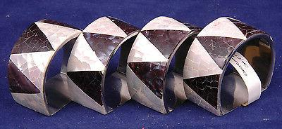 Napkin Holders-Mother of Pearl, Shell-Black/White-Made Philippines-Mosaic Tri