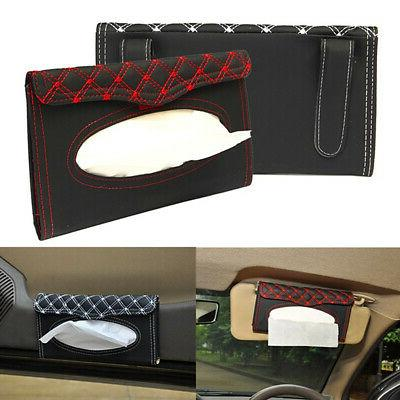 US PU Car Sun Visor Hanging Type Tissue Box Holder Paper Cover